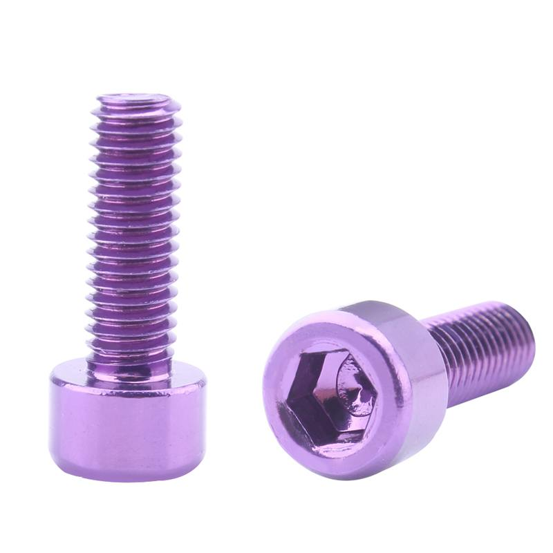 1 Pair Bike Water Bottle Cage Bolts M5 Aluminium Alloy Hex Socket Tapping Screws Purple