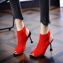 2020 New Sexy Fish Mouth Women's Sandals High Heels Open Toe Mouth Sandals Stiletto Knit Elastic Fashion High Heel Sandals