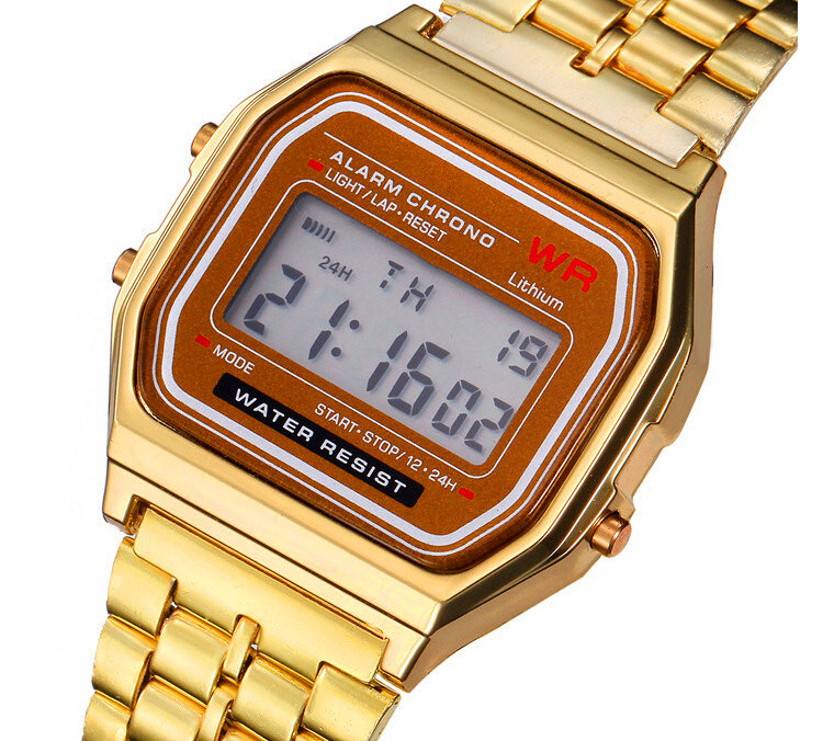 Classic LED Metal Shock Digital Women Watches Ladies Fashion Casual Sports Wristwatches Steel Band Clock