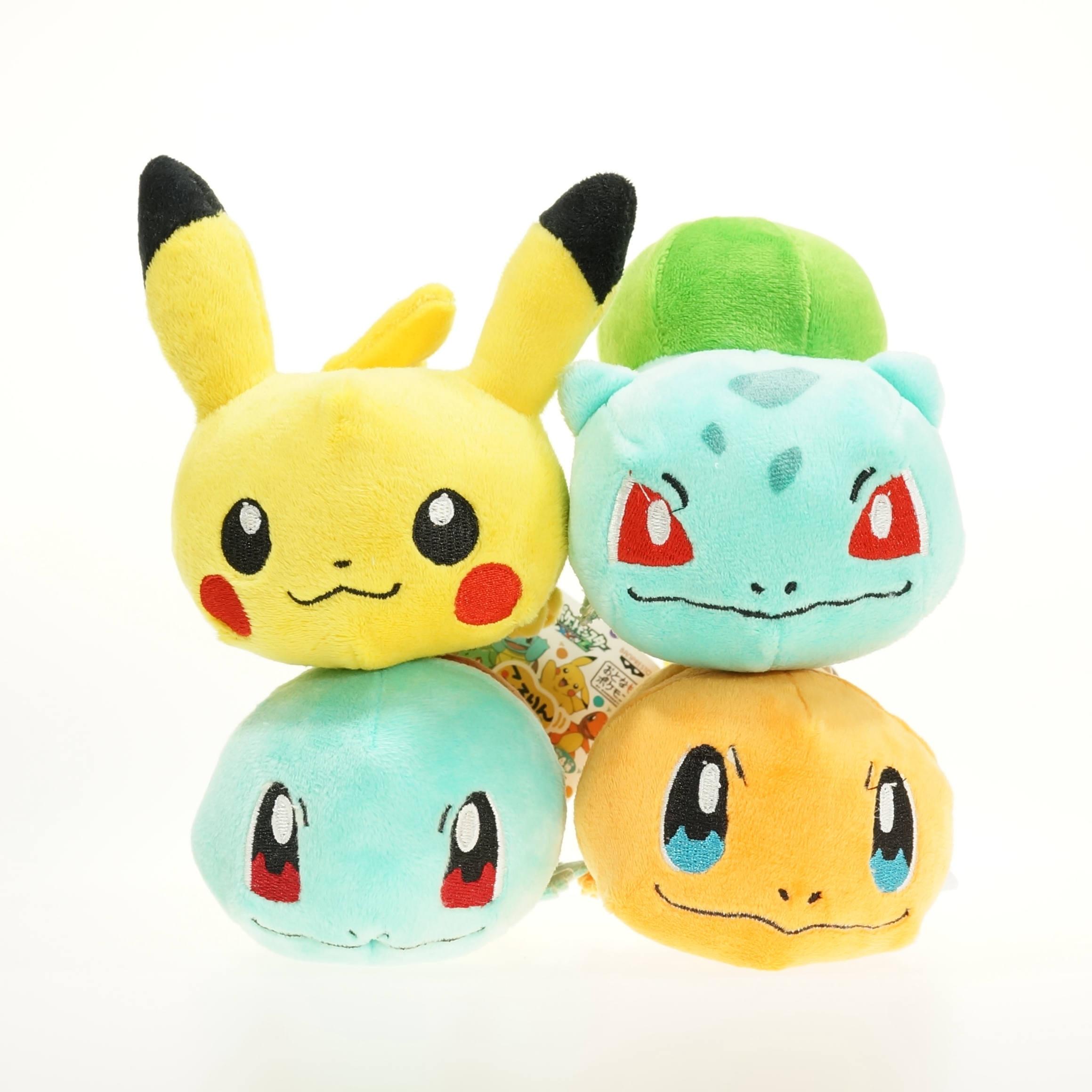 Pocket Cute Chubby Pikachu & Bulbasaur & Squirtle & Charmander Big Head Cute Lying Plush Toys