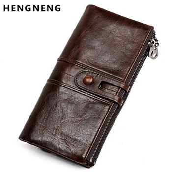 Men Purses Long Zipper Genuine Leather Male Clutch Bags With Cellphone Holder High Quality Card Holder Wallet 1
