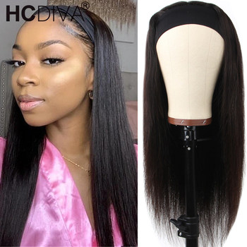 30inch Straight Human Hair Wigs With Headband Scarf Brazilian Remy Hair150 Density U Part Wig For Black Women Fashion Style