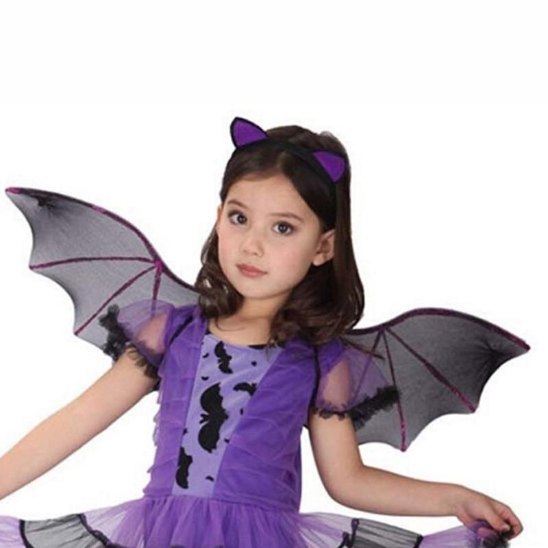 2019 New Halloween Costume Masquerade Purple Bat Wings Creative Headband Kids Clothing Gift Cosplay Dress Accessories