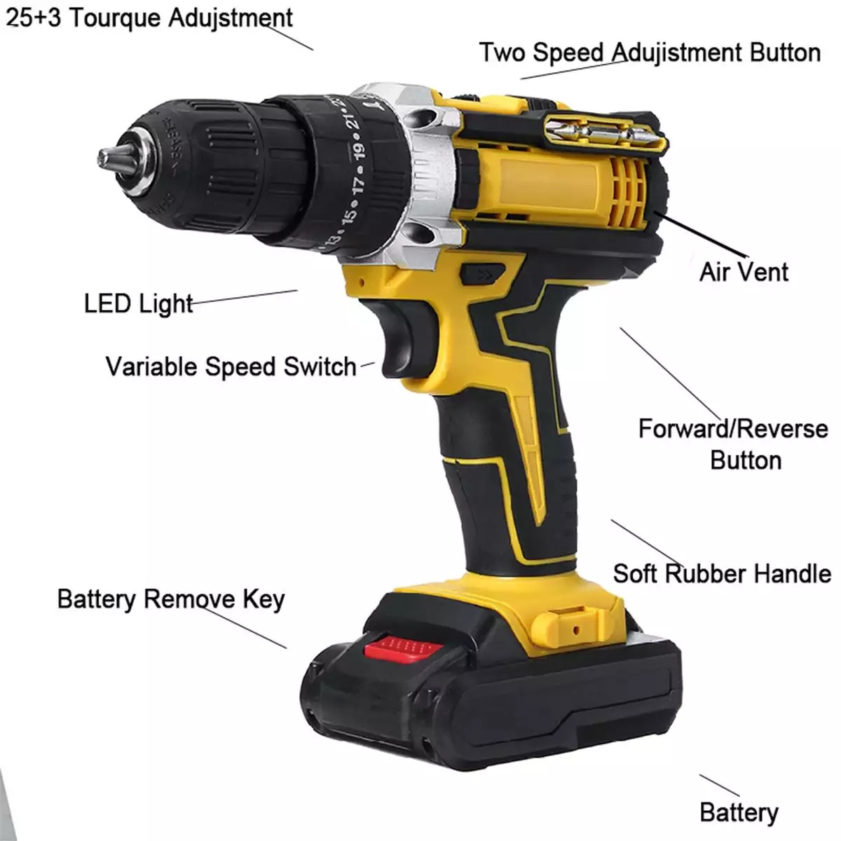 Tools : 48V Variable 18-Speed Adjustment Impact Cordless Electric Drill Screw Screwdriver Machine Tool Hammer Drill 2 Lithium Battery