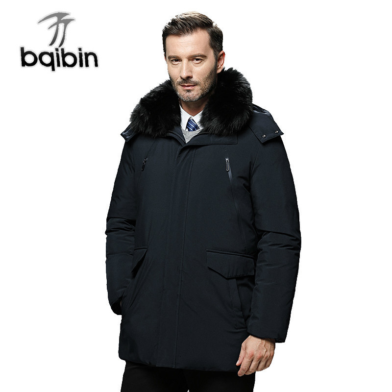 New High Quality 90% White Duck   Down     Coats   Men Hooded Thick Warm Winter Jackets Business Casual Outwear Men Parka #577