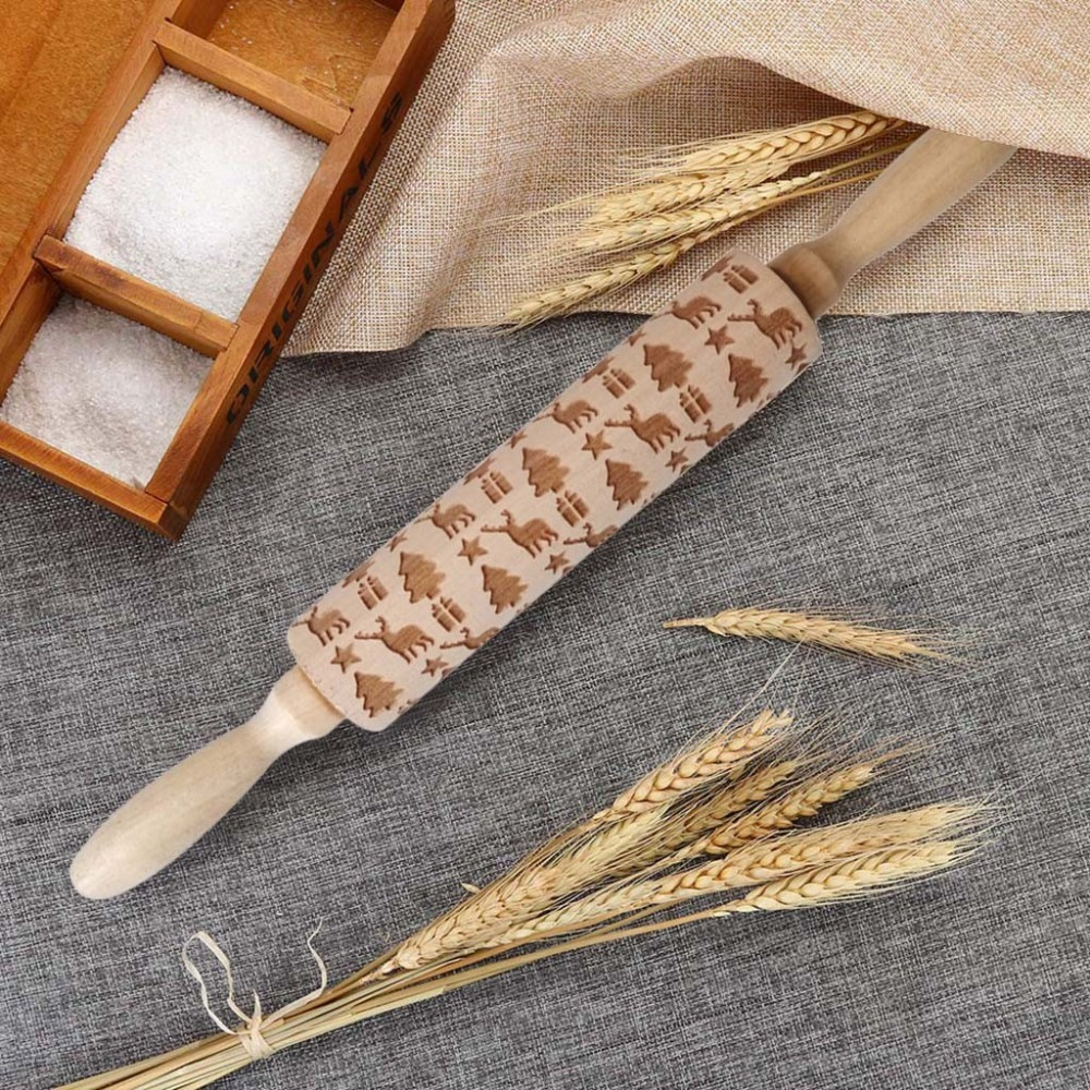 Textured Non-Stick Designs Wooden Embossed Rolling Pin for Cookies/Biscuit/Fondant Cake 10