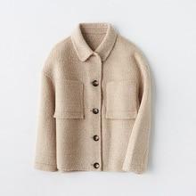 Shuchan Woman Short Woolen Coat Pockets Turn-down Collar Single Breasted Wide-waisted Korean Fashion Abrigos Mujer Invierno