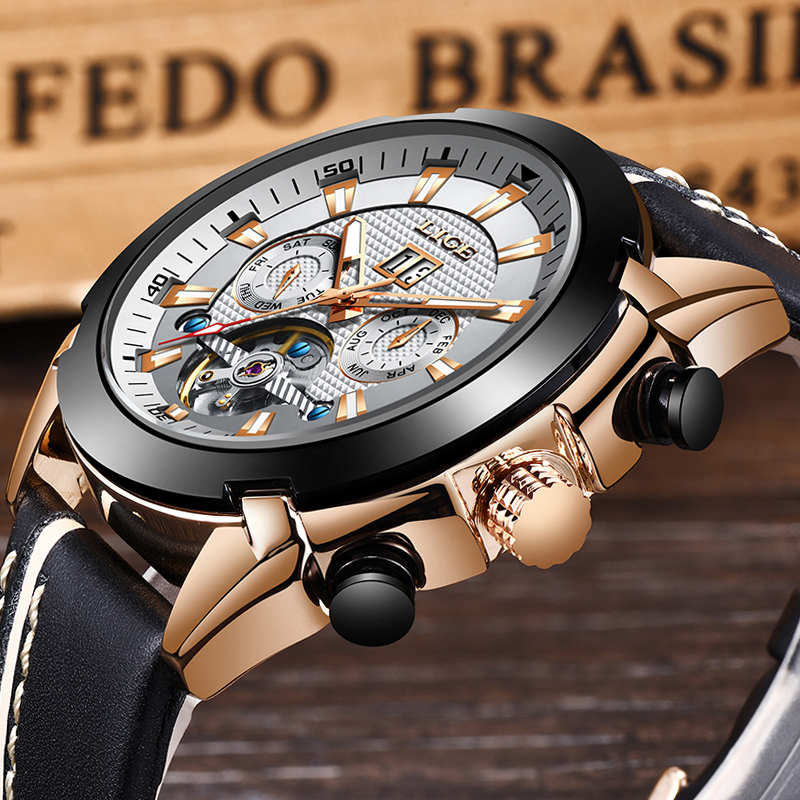 New LIGE Fashion Watch Men Top Brand Luxury Automatic Mechanical Watch Casual Sport Waterproof Men Watches+Box Relogio Masculino