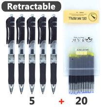 Stylos à Gel rétractables noir/rouge/bleu encre stylos à gel colorés pour l'écriture 0.5mm recharges bureau pour fournitures scolaires papeterie