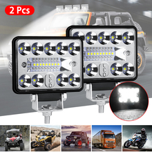 SUHU 2Pcs 57W 12V 19LED Work Light Bar Car SUV Off Road Driving Fog Lamp Bulb 2800LM 6000K LED Lights Bar For Car Truck SUV ATV