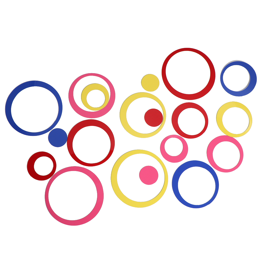 5PCS//Lot 3D Circle Wall Stickers Removable Indoors Decal Acrylic DIY Adhesive