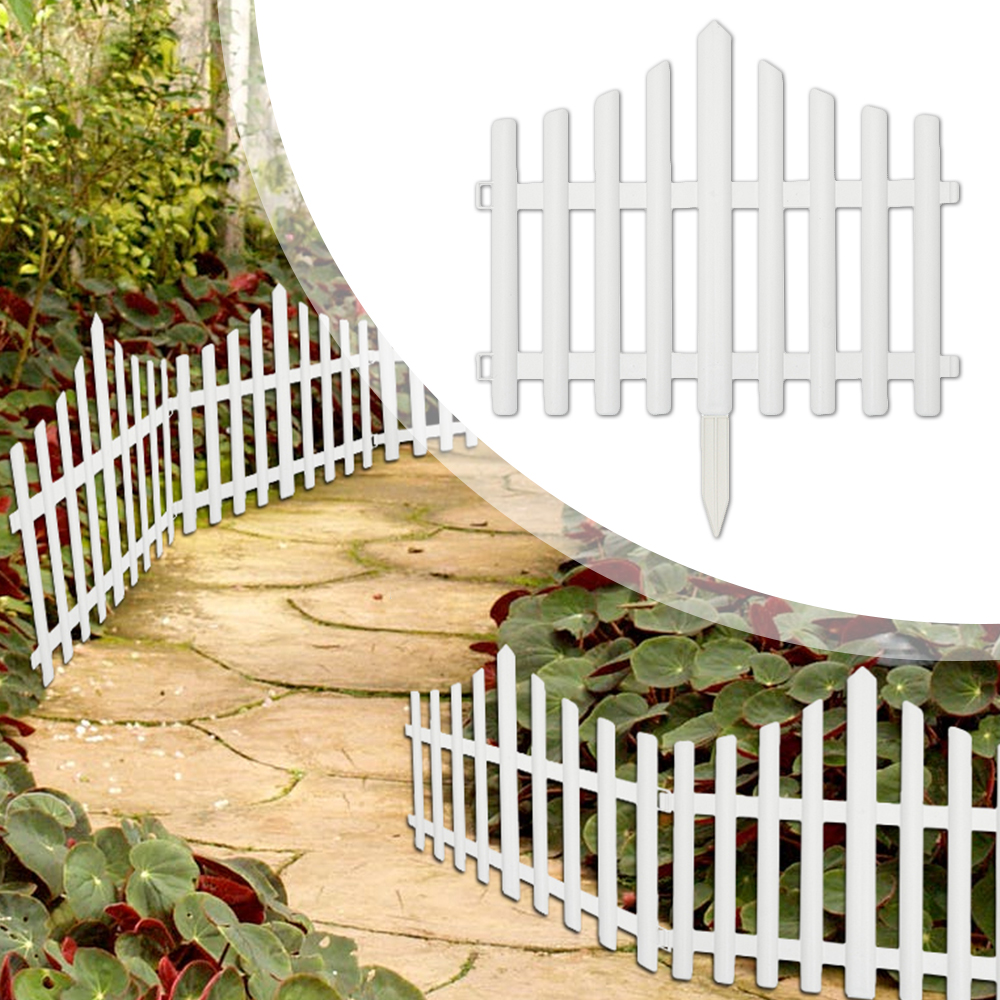 Garden Fence Plastic Courtyard White Outdoor Flower Lawn Grass Fence Picket Wall Fencing Board Garden Yard Decoration Mesh