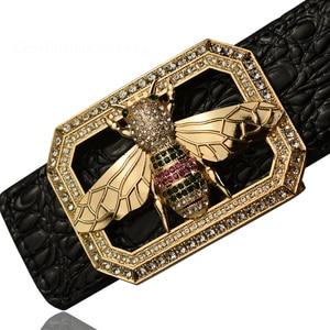 Image 2 - 2020 高級ブランドラインストーン蜂バックルベルト男性高品質のファッションワニのパターン本革ベルト