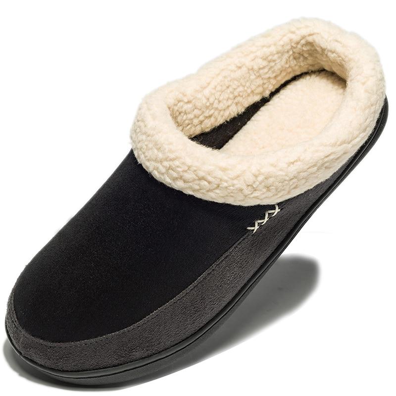 Warm Cotton Slippers Men Shoes Bathroom Indoor Man Winter Fur Shoes High Quality Plush House Flat Footwear Plus Size 48 49 50