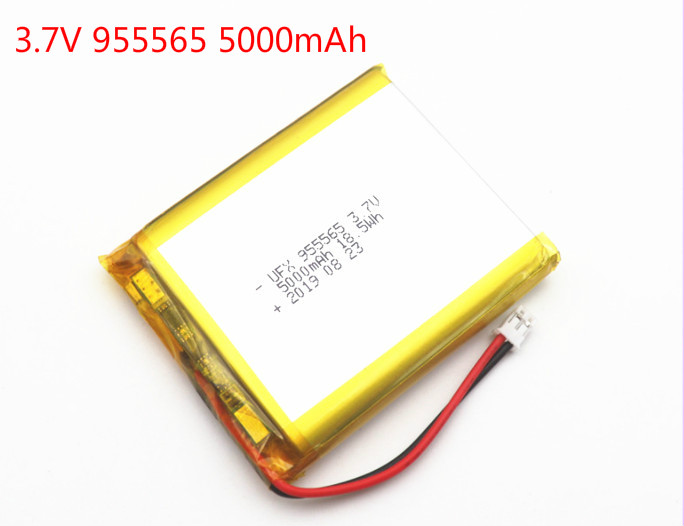<font><b>3.7V</b></font> 955565 <font><b>5000mAh</b></font> Polymer Lithium <font><b>LiPo</b></font> Rechargeable <font><b>Battery</b></font> For GPS PSP DVD PAD E-book tablet pc laptop power bank video game image