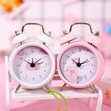 DSstyles Round Portable Alarm Clock Cute Cartoon Pig Double Bell Compact Digital Kids Students Metal Bed Table