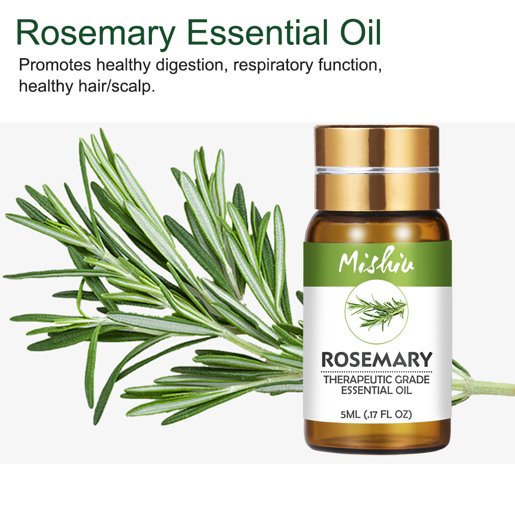 Mishiu 5ML Rosemary Essential Oil Promotes Healthy Aromatherapy Diffusers Oils Air Freshening Organic Body Relieve Stress Oil