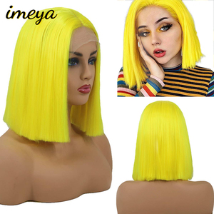 Imeya koronkowa peruka 10 Cal żółty różowy czerwony kolor krótki Cut Bob peruki z prostymi włosami dla czarnych kobiet peruki syntetyczne włosy koronkowa peruka na przód