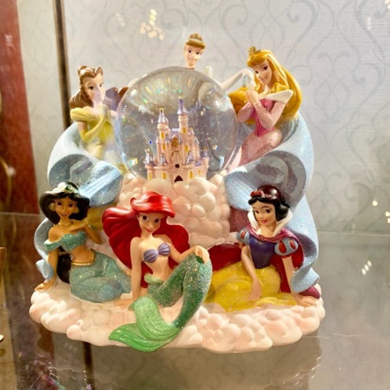 Disney Princess Series Snow White Mermaid Cinderella Crystal Ball With LED Light Music Box Children's Birthday Gifts X4623