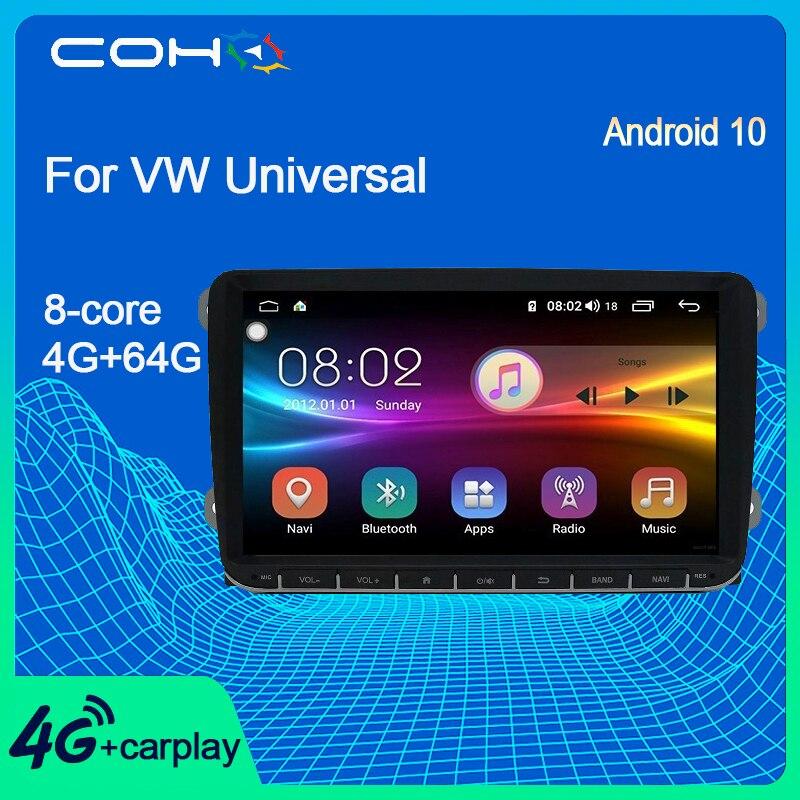COHO для VW Universal Golf/Polo/Tiguan/Passat/b7/b6/SEAT/Octavia 8-ядерный 6 + 128G Android 10,0 9-дюймовый стереоприемник автомобильный радиоприемник CAN