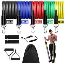 11 Teile/satz Latex Widerstand Bands Crossfit Übung Yoga Rohre Pull Seil Gummi Expander Elastische Bands Fitness mit Tasche