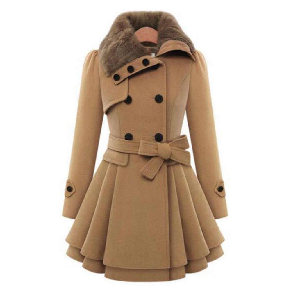 秋冬コートの女性 2019 ファッションヴィンテージスリムダブルブレストジャケット女性のエレガントなロングウォームホワイトコート