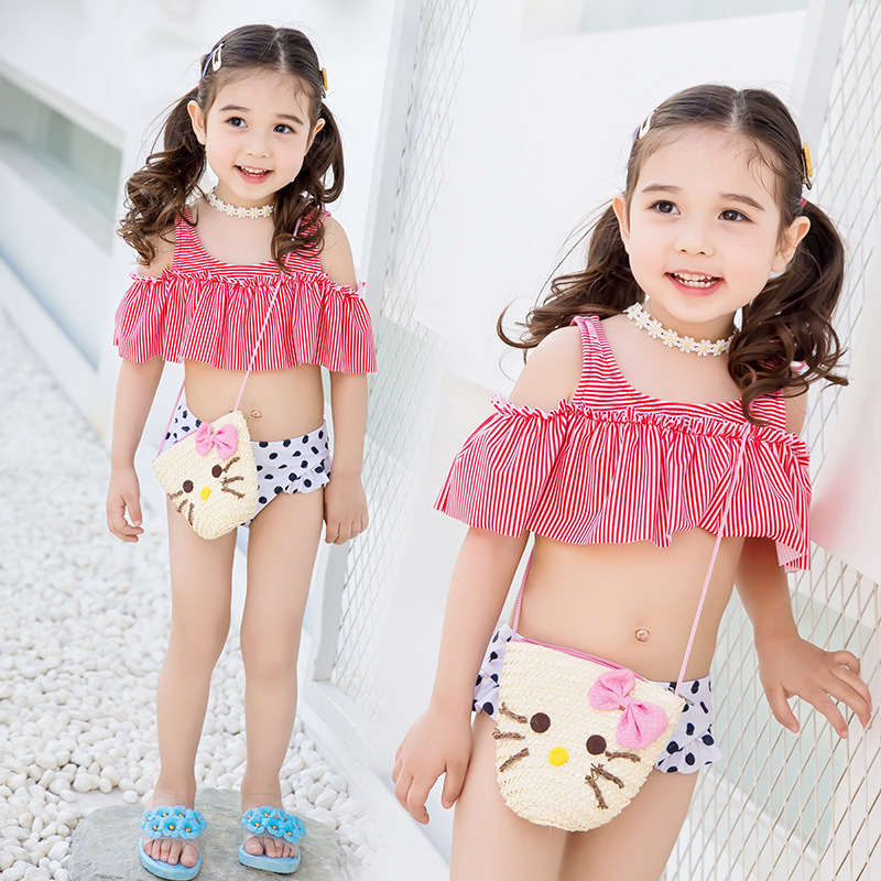 2017 New Style KID'S Swimwear Polka Dot Split Type Cute AliExpress EBay Hot Selling