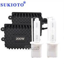 SUKIOTO Premium High Power 12V 200W Xenon HID Headlight Ballast Kit Ceramics Base H1 H3 H7 H11 D2H 4300K 8000K Car Light Bulb