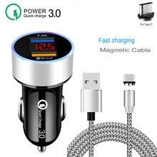 LED Diaplay QC 3.0 szybka ładowarka samochodowa magnetyczny typ C kabel ładujący do Huawei P40 Lite Honor 30 20 Pro 9S 9A 30S X10 9X Lite