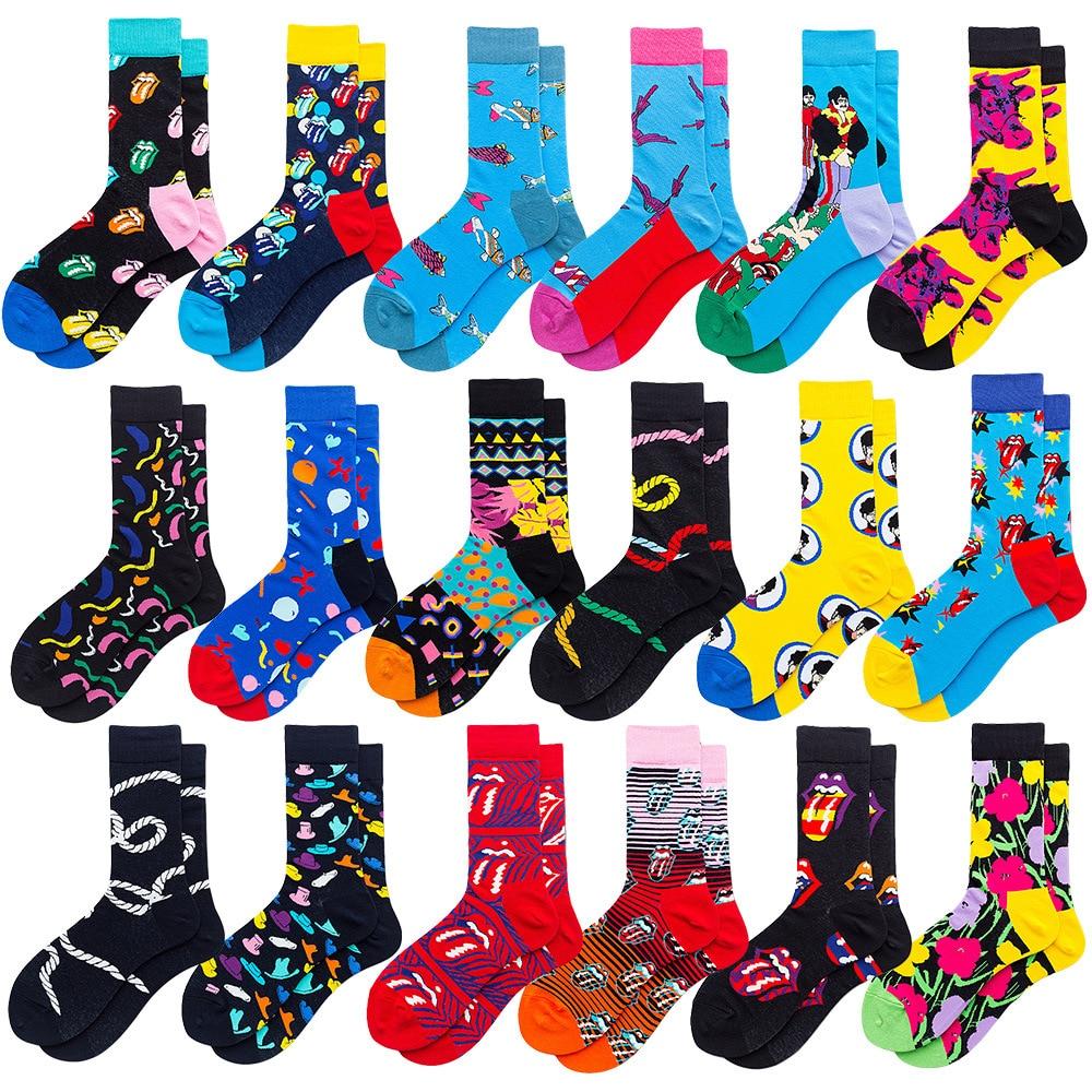 Men Combed Cotton Socks Funny Happy Novelty Long Crew Socks Beatles Rock Crazy Fun Funky Skateboard Socks Colorful Tongue Sox