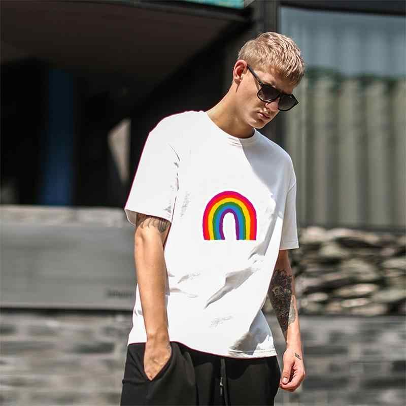 Moda gay arco-íris bandeira orgulho gaypride apoio homossexual tshirt s-89xl de manga curta metade camisetas masculinas exclusivas