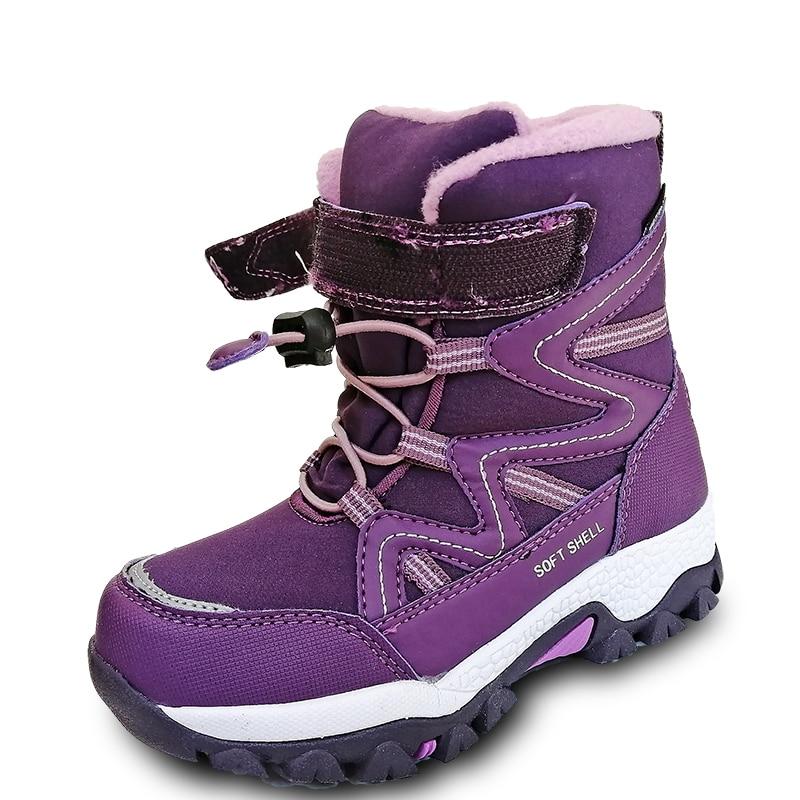 Новинка, 1 пара, водонепроницаемые лыжные детские зимние сапоги, зимние теплые сапоги, внутренняя шерсть, 40 или 30 градусов, модная детская обувь для девочек/мальчиков