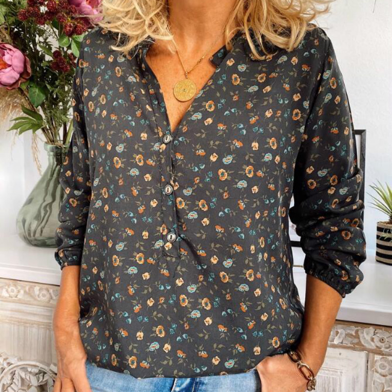 Women's Long Sleeve Autumn Spring Chiffon Blouse Casual Plus Size Blusas Streetwear Ladies Tops V Neck Floral Print Shirts 5XL(China)