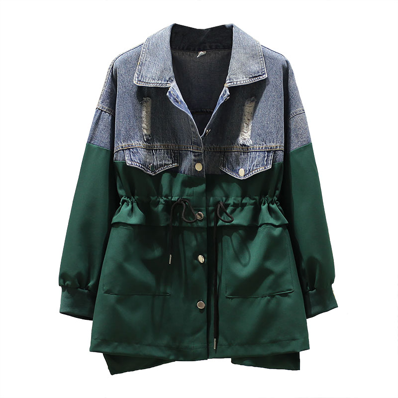 Women's Denim Jacket Oversized 4XL Ladies Fashion Windbreaker Outerwear Mid-Long Drawstring Cowboy Color Matching Casual Coats