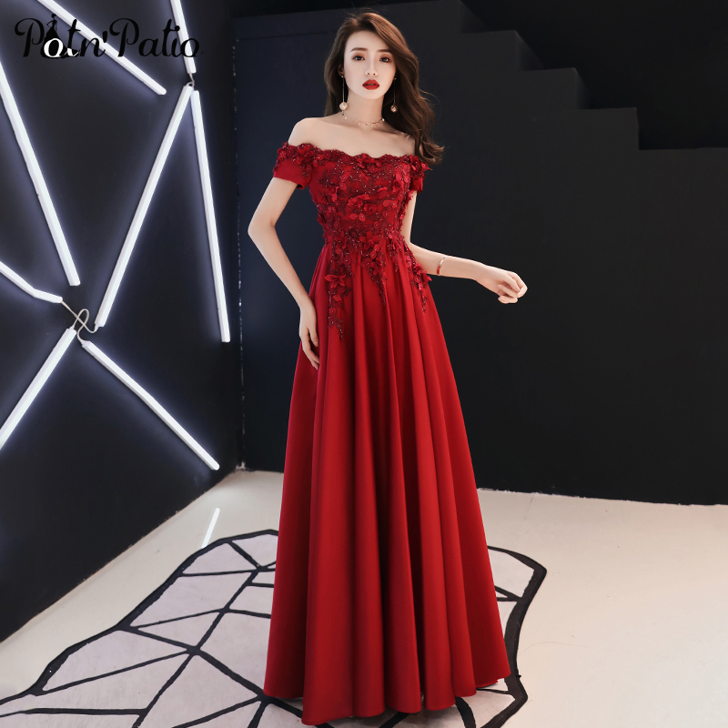 Elegant Off The Shoulder Wine Red Evening Gowns Long 2019 Luxury Beading Appliques Floor-length Satin Women Formal Dresses