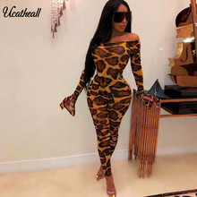 Off Shoulder Leopard Sexy Jumpsuit Women Elastic Slash Neck Bodycon Rompers Autumn Long Sleeve Full Length Jumpsuits(China)