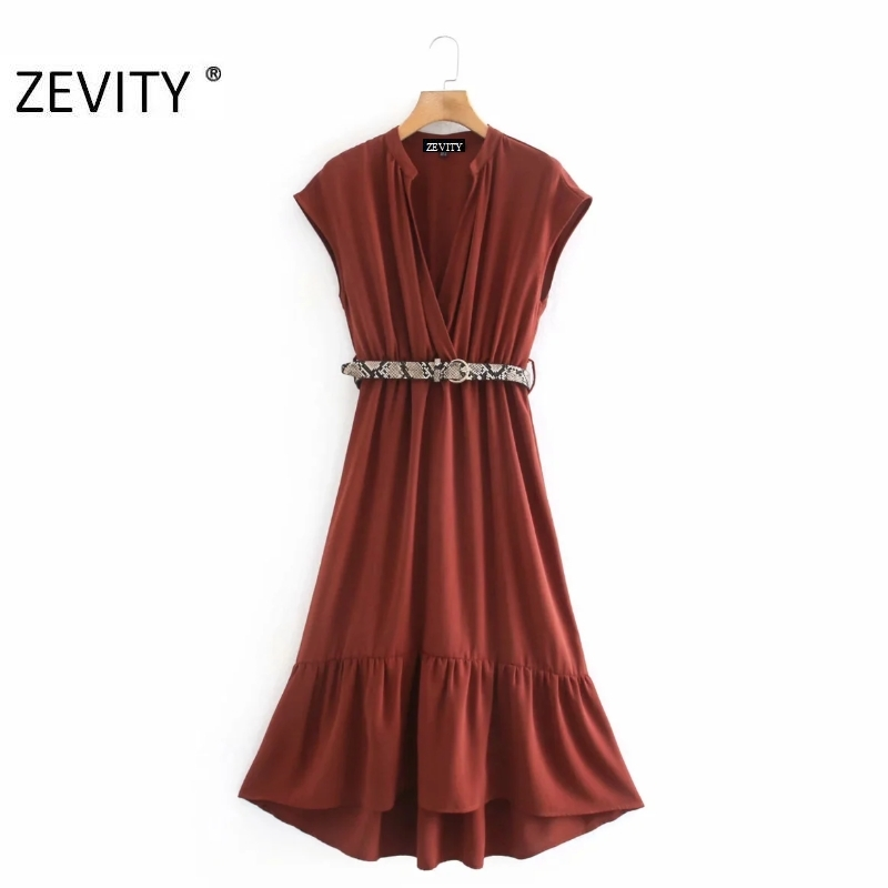 ZEVITY Women elegant v neck solid sashes midi shirt Dress Office Lady short sleeve hem pleat ruffles Vestido Chic Dresses DS4371