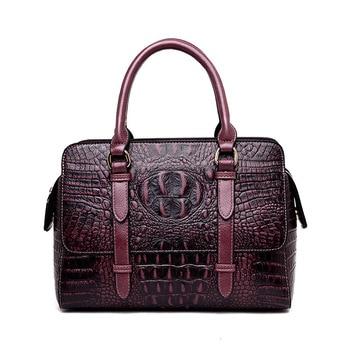 2020 bags women genuine leather Bag for Woman Package Crocodile Grain Ma'am Oblique Satchel luxury handbags crossbody designer