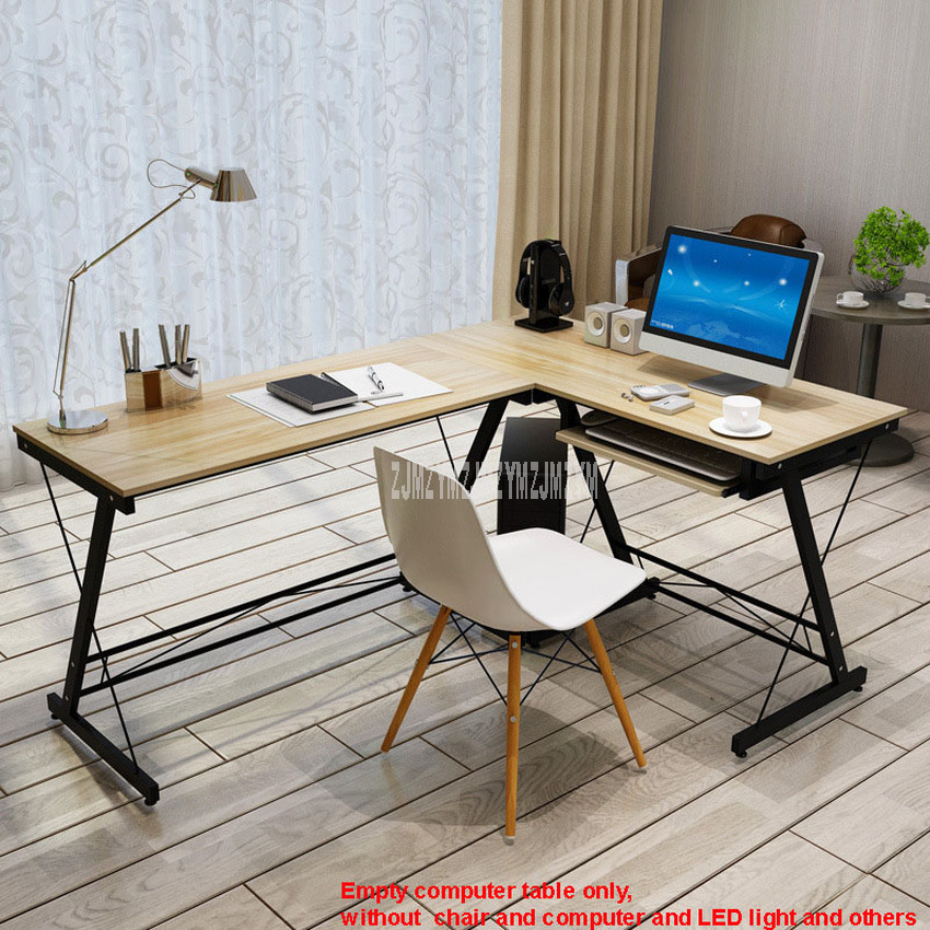 L-Shape Office Writing Desk Corner Computer Desk Wood Right-angle PC Laptop Table Home Furniture Gaming Study Table Steel Frame