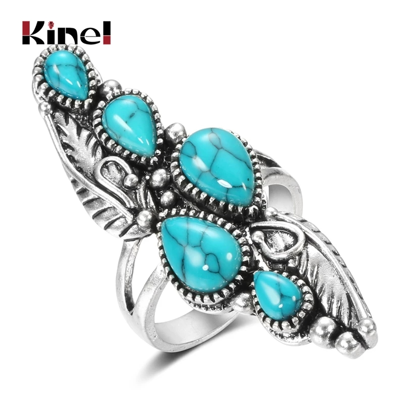 Kinel Boho Natural Stone Big Ring for Women Vintage Jewelry Ethnic Style Tibetan Silver Carved Pattern Wedding Party Big Rings