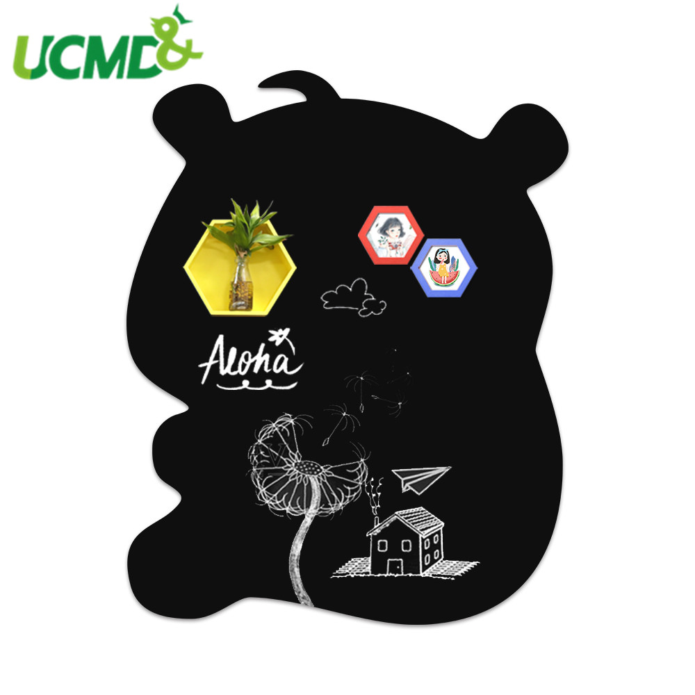 Cute Bear Shape Blackboard Wall Sticker Painting Writing Drawing Learning Erasable Message Whiteboard Sticker Room Decoration