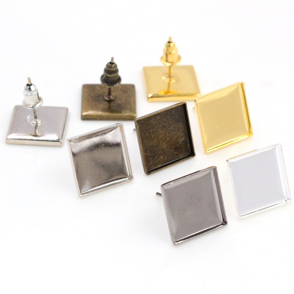 12mm 20pcs/Lot 5 Colors Plated Square Earring Studs,Earrings Blank/Base,Fit 12mm Glass Cabochons,Buttons