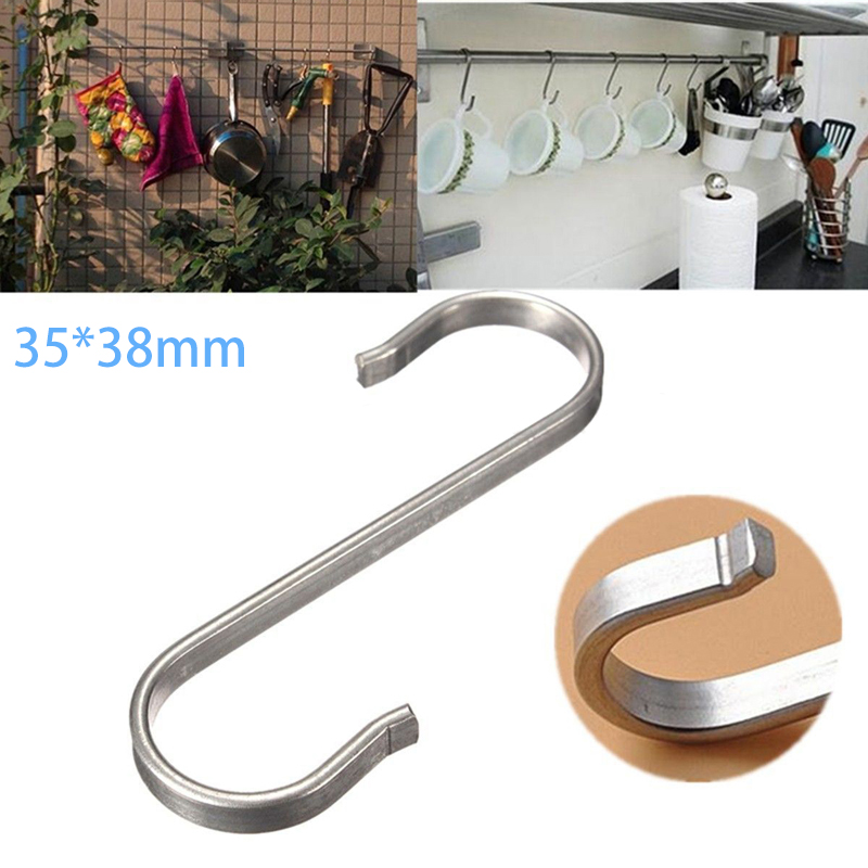 1pc Silver S Shaped Hools Home Stainless Steel Clothes Socks Hooks Portable Durable 10KG Load-bearing Up Home Outdoor Hanging