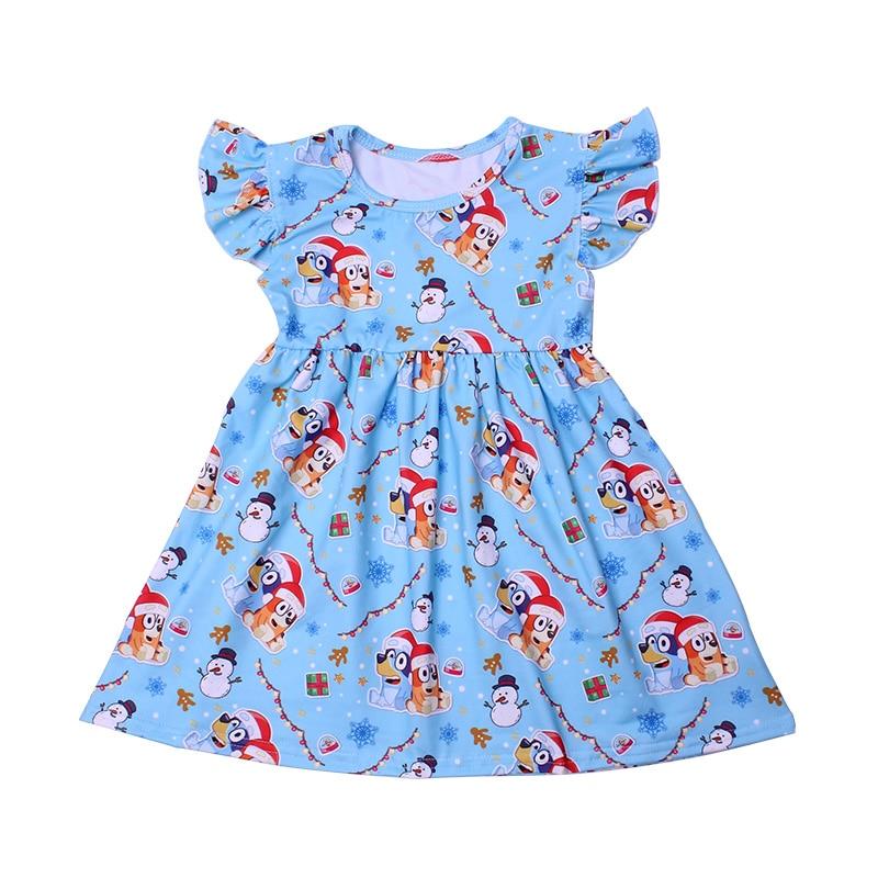 New Fashion Girls Dress Puffy Sleeve Kids Cartoon Clothing Soft Milksilk Children Birthday Party Dress Wholesales 12M to 7T 5