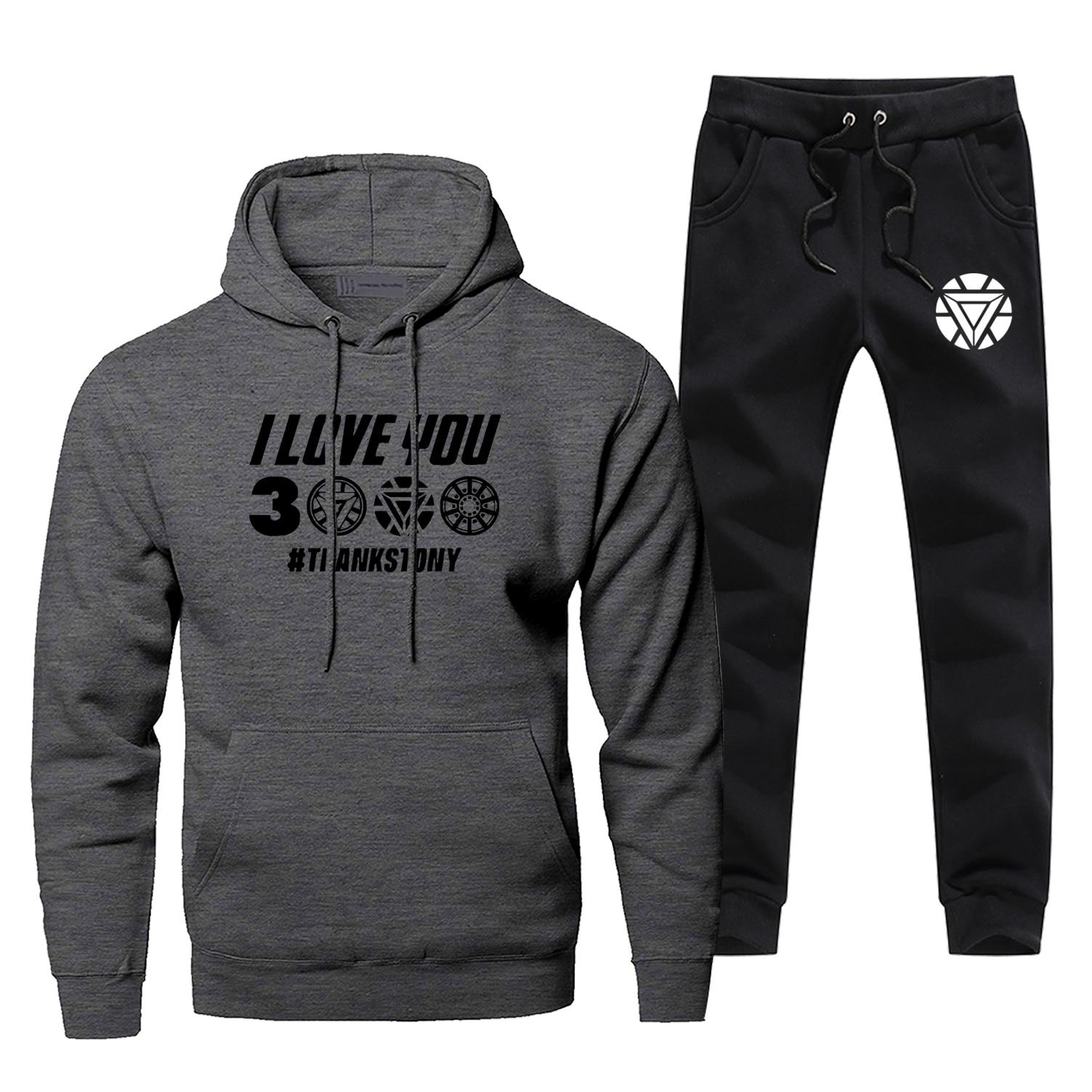 Iron Man Hoodies Pants Casual Fashion I Love You 3000 Men's Sets Fitness Gym Suit Black Gray Warm Tony Stark Pants Sweatshirts