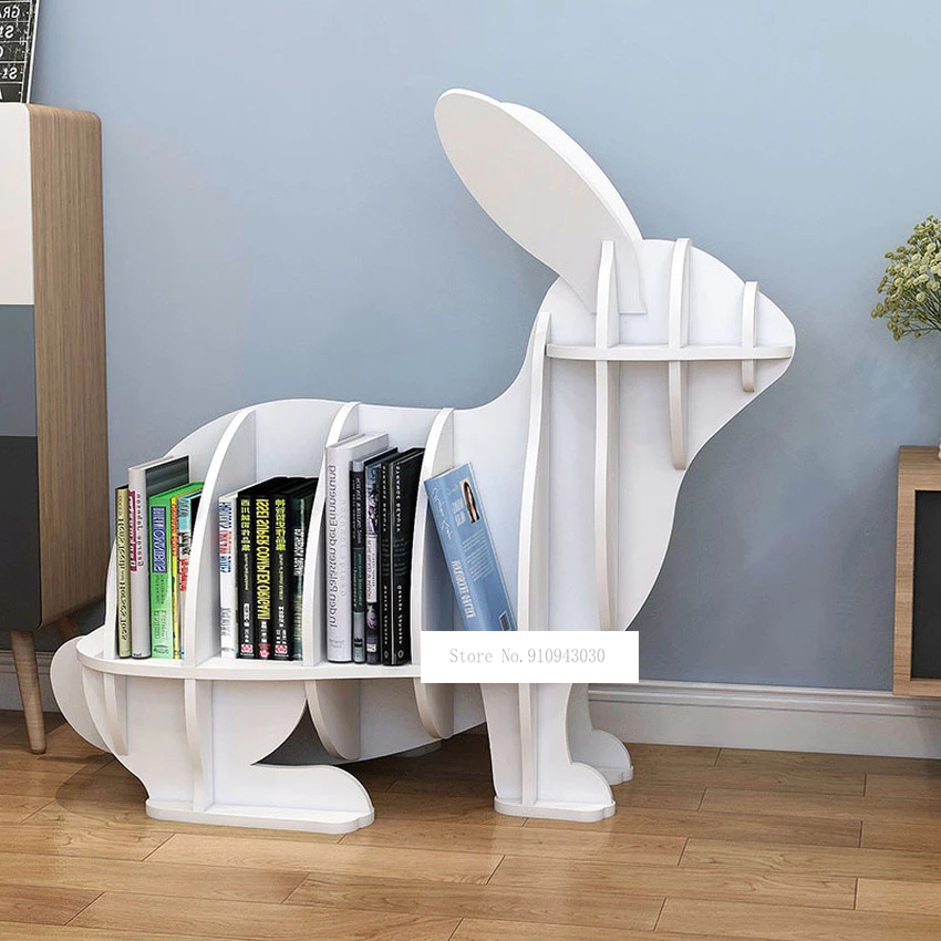 S/M Kreative Tier-förmigen Kaninchen Bücherregal Kindergarten Kinder Möbel kinder Bücherregal Rack-Home Dekoration Boden Ornamente