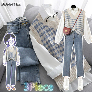 Women Sets Elegant 3 Piece Plus Size 4XL Office Lady Solid Shirts Sweet Vests Ankle Length Jeans Womens Daily Casual Trendy Chic