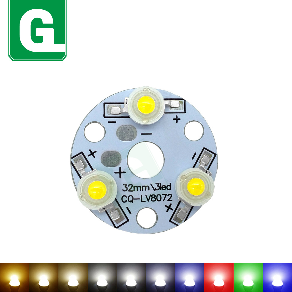3W 9W High Bright LED PCB Board Warm Natural Cool White Red Green Blue Yellow Light Beads For DIY Bulb Source With 32mm Base