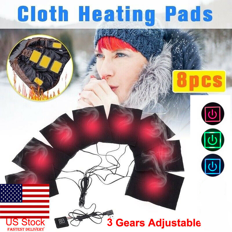 8in1 USB Electric Heating Pads Adjustable Temperature Thermal Vest Jacket Warmer For Adult Elder