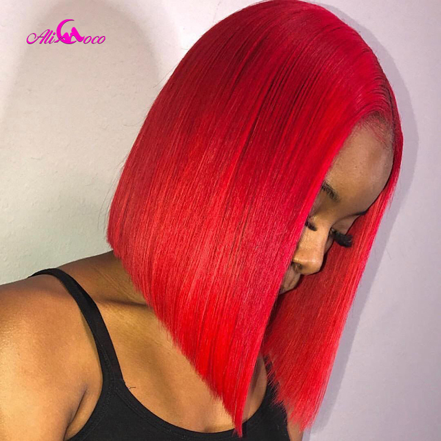 $ US $64.83 Ali Coco 150% Red Lace Front Human Hair Wigs Pre-Plucked 613 Blonde 13x4 13x6 Cut Bob Wigs For Women Pink Straight Ombre Wigs